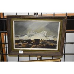 """Framed acrylic on board of a rocky shoreline with occupant signed by artist D. Kaiser '78, 7"""" X 10"""""""