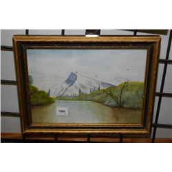 """Two framed pictures including small mountain watercolour signed by artist A. Bowm, 7"""" X 10"""" and a vi"""