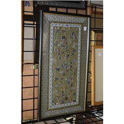 Asian embroidered framed courtyard scene