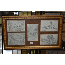 Set of five original sketches including churches and rural settings, all by artist James Drew, overa