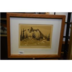 """Small framed early block cut print titled """"Mt. Findlley, Revelstoke B.C"""" pencil signed Weber '52, 5"""""""