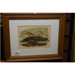 """Small framed early block cut print titled """"Upper Waterfowl Lake"""" pencil signed Weber '53, 4"""" X 5 1/2"""