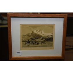 """Small framed early block cut print titled """"Rock Island Lake"""" pencil signed Weber '57, 5"""" X 6 1/2"""""""