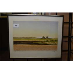 """Small framed early block cut print titled """"Big Sky Country, Alberta"""" pencil signed Weber '79, 7"""" X 9"""