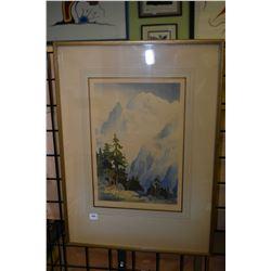 "Framed coloured wood cut print titled ""Mt. Blanc"" signed by artist J. Alphege Brewer"