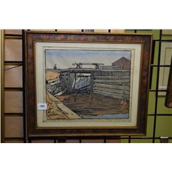 """Framed coloured wood cut limited edition print titled """"Sleuce on the Beaver"""" pencil signed L. Petley"""