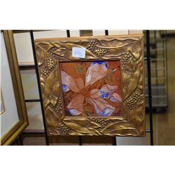 "Two framed original artworks including a painted and tooled leather floral signed Caroline 1985, 5"""