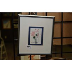 Two small framed artworks including an original floral still-life signed by artist and a limited edi