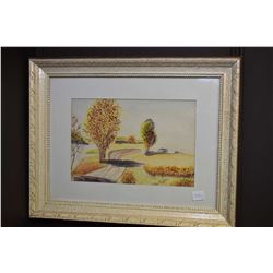 Two framed original watercolours, each depicting rural scenes with roads and each signed by artist U