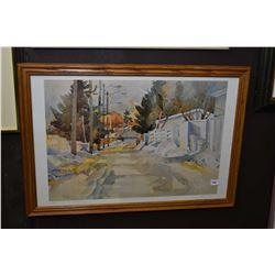 "Framed limited edition print titled ""A favorite Lane"" signed by artist 27/500"