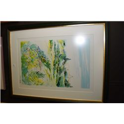 Framed limited edition print of a shrubs and a distant community signed by artist Ray Porier 67/600
