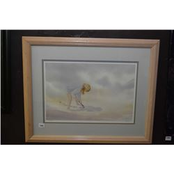 Two framed artworks including limited print of a young girl signed Kai-Liis (?) 704/2950 and and ori