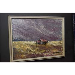 """Framed acrylic on board painting of a rural setting in a storm signed by artist D. Graham, 12"""" X 16"""""""
