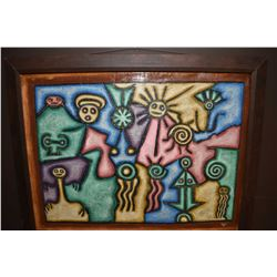 """Framed acrylic on canvas stylized hieroglyphics painting signed by artist H. Florvil, 27"""" X 36"""""""