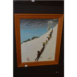 Framed vintage acrylic on board painting of a dog sled team signed Lynch Curry purportedly painting
