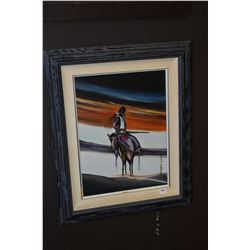 """Framed acrylic on board painting of a native on horseback signed by artist Many Loper (?), 16"""" X 12"""""""