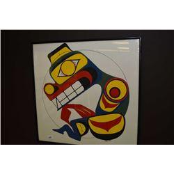 "Framed original tempera on paper Haida painting initialled by artist LVDM 2004, 17"" X 17"""