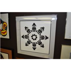 """Framed black and white print titled """"Secret Circles"""" pencil signed by artist Beau Dick '91, 69/155,"""