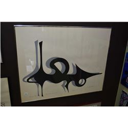 """Framed limited edition serigraph print titled """"Man and his Automobile"""" pencil signed by artist J. F."""
