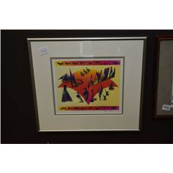 """Framed original pen and ink on paper painting titled """"Thank My Creator"""" signed by artist Red Bear, 8"""