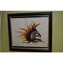 """Framed limited edition print titled """"Fire Bird"""" pencil signed by artist Rivin, 72/2000"""