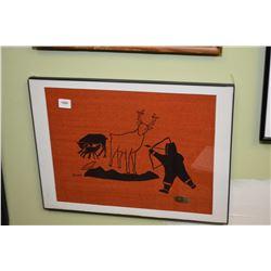 """Framed ink on burlap print of a hunt scene signed by artist Kalvak, 10"""" X 14"""""""