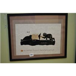 "Framed serigraph print titled ""Eskimo Hunter and Seal"" signed by artist Henry Napartuk"
