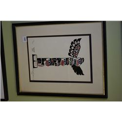 """Framed limited edition print titled """" The Sunwapta Totem Pole"""" signed by artist Doug Fortune, 265/50"""