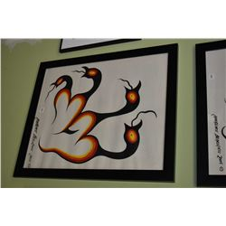 """Framed tempera on paper painting of native birds, signed by artist Lawrence Beaulieu 2005, 24"""" X 20"""""""