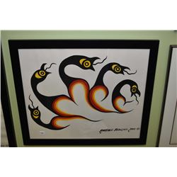 """Framed tempera on paper painting of native birds, signed by artist Lawrence Beaulieu 2005, 20"""" X 24"""""""
