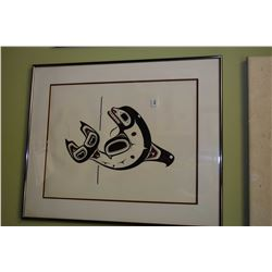 """Framed limited edition print titled """"Haida Killer Whale"""" pencil signed by artist Clarence Mills '90,"""
