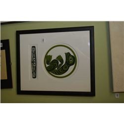 """Framed limited edition print titled """"Haida Frog"""" pencil signed by artist Clarence Mills '2000, 80/21"""