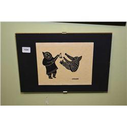 Framed Inuit print signed Akovok