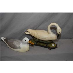 """Hand carved and artist signed swan motif pull toy signed Reineri """"92 and a hand carved """"Glaucus wing"""