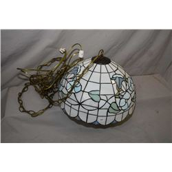 Leaded and slag glass, floral motif hanging light fixture