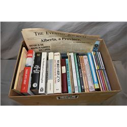 Box of books including The Poetry of Robert Frost, The Story Behind The Word, Common Phrases And Whe