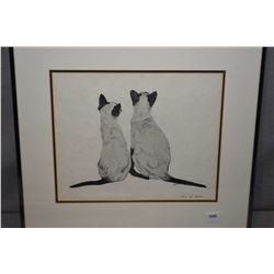 """Framed original pencil drawing of two Siamese puddy tats signed by artist Irene Lesham, 9"""" X 11"""""""