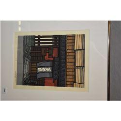 Framed multi-colour Japanese block print signed by artist and marked on verso K. Nishijuma