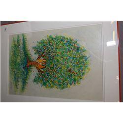 "Framed original artwork of children in an apple tree, signed by artist Kristin Schuyler, 20"" X 13"""