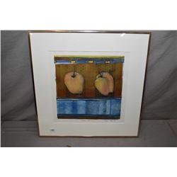 "Framed original artwork titled ""Golden Delicious"" signed by artist Carolyn Haug '97, 13"" X 13"""