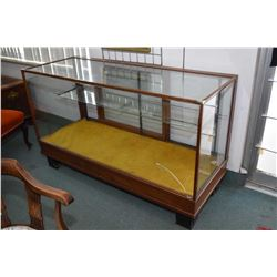 """Antique 60"""" wide retail display cabinet with adjustable display shelves, note front glass is cracked"""