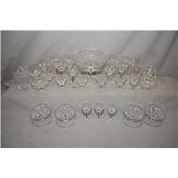 Selection of Orrefors style crystal stemware including six white wine, eight juice glasses, four she