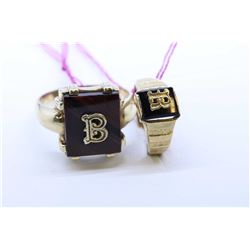 Two 10kt gold signet rings including stamped gold ring with  stripped agate with the letter B and a