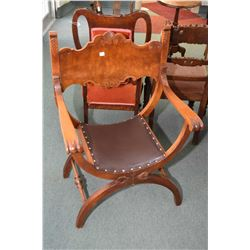 Renaissance style open arm chair with splade supports