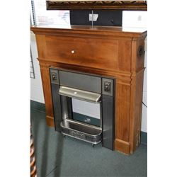 Vintage fireplace and mantle and metal fireplace surround insert