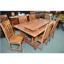 Mission style with two insert leafs and eight chairs including two carvers made by Intercom Furnitur
