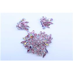 Vintage signed Sherman pink diamante gemstone brooch and a pair of co-ordinating earrings