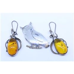 Pair of silver and amber style earrings and a sterling silver owl motif pin