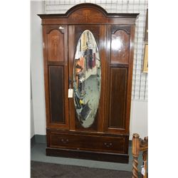 Sheraton single drawer wardrobe with bevelled mirror, inlaid decoration and drawer in base