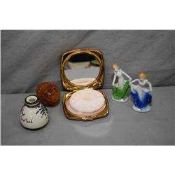 Selection of small vintage cabinet pieces including carved coquilla nut flea trap, small stoneware p